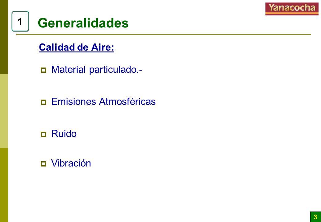 3 Generalidades 1 Calidad de Aire: Material particulado.- Emisiones Atmosféricas Ruido Vibración