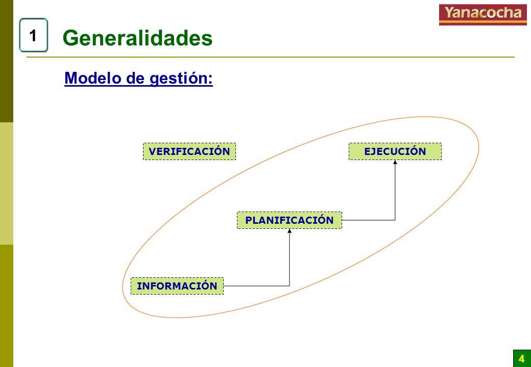 4 Generalidades 1 Modelo de gestión: INFORMACIÓN PLANIFICACIÓN EJECUCIÓNVERIFICACIÓN