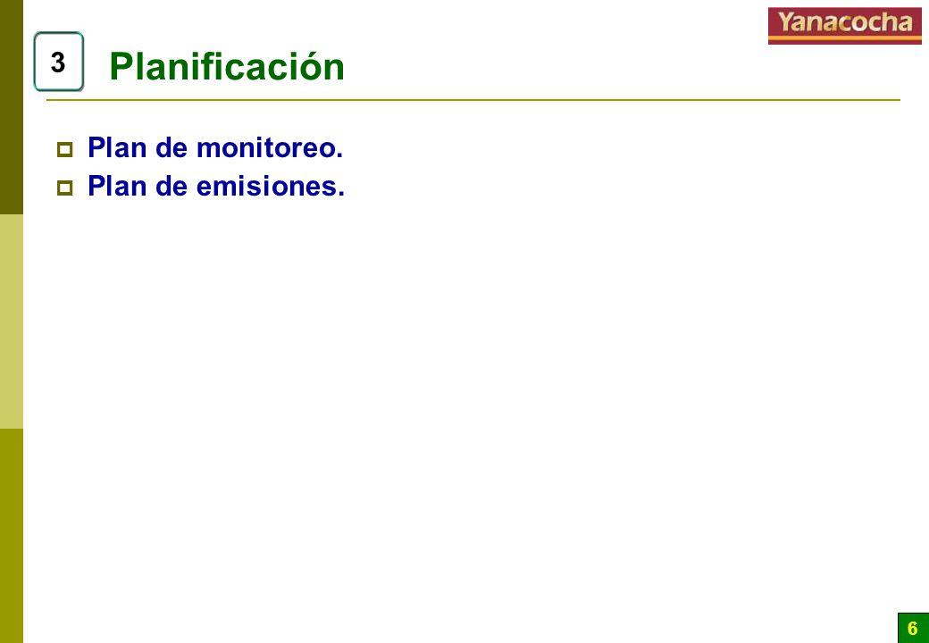 6 Planificación Plan de monitoreo. Plan de emisiones. 3