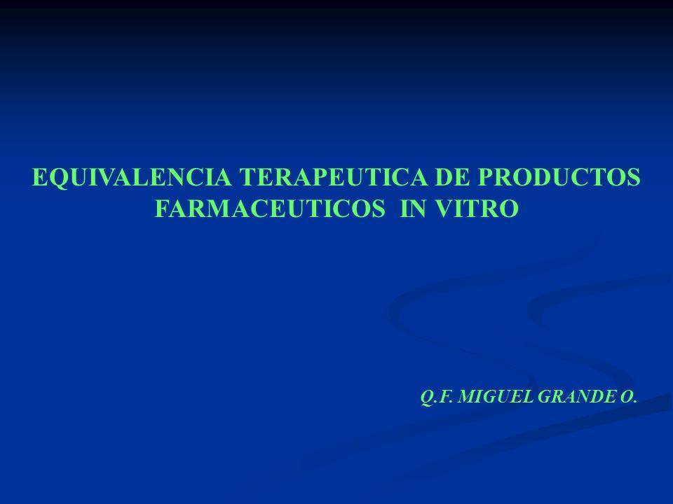 EQUIVALENCIA TERAPEUTICA DE PRODUCTOS FARMACEUTICOS IN VITRO Q.F. MIGUEL GRANDE O.