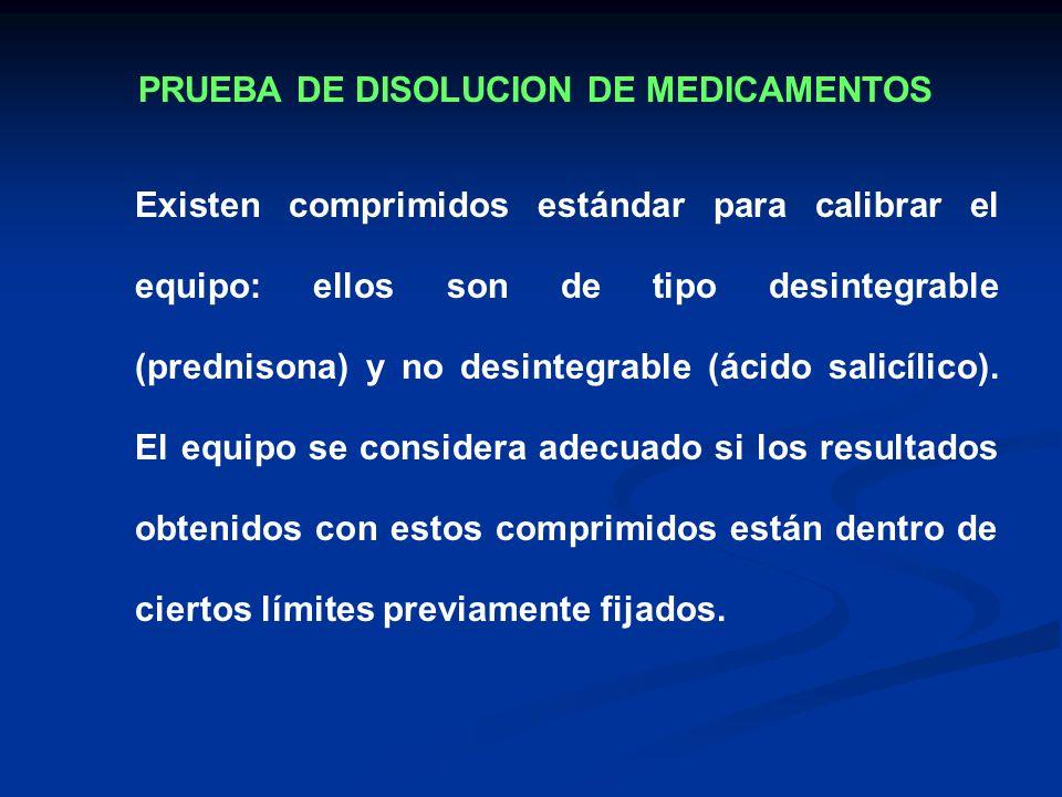 Existen comprimidos estándar para calibrar el equipo: ellos son de tipo desintegrable (prednisona) y no desintegrable (ácido salicílico). El equipo se