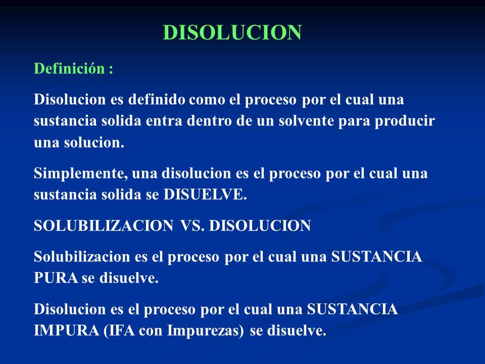 Definición : Disolucion es definido como el proceso por el cual una sustancia solida entra dentro de un solvente para producir una solucion. Simplemen