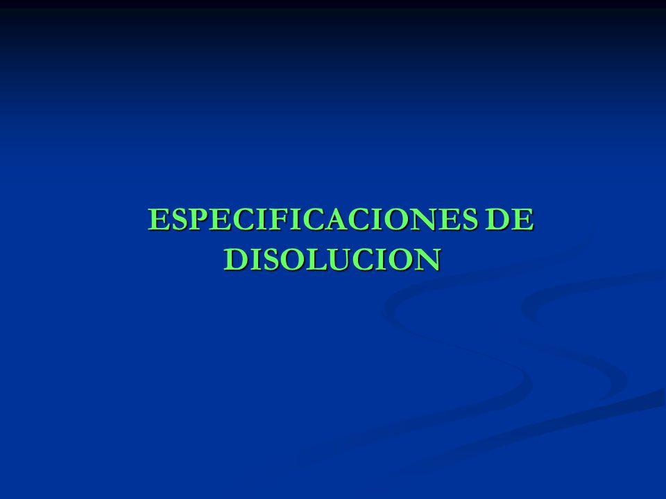 ESPECIFICACIONES DE DISOLUCION ESPECIFICACIONES DE DISOLUCION