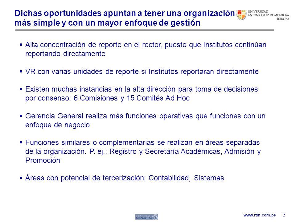 www.rtm.com.pe Dichas oportunidades apuntan a tener una organización más simple y con un mayor enfoque de gestión 2 Alta concentración de reporte en e