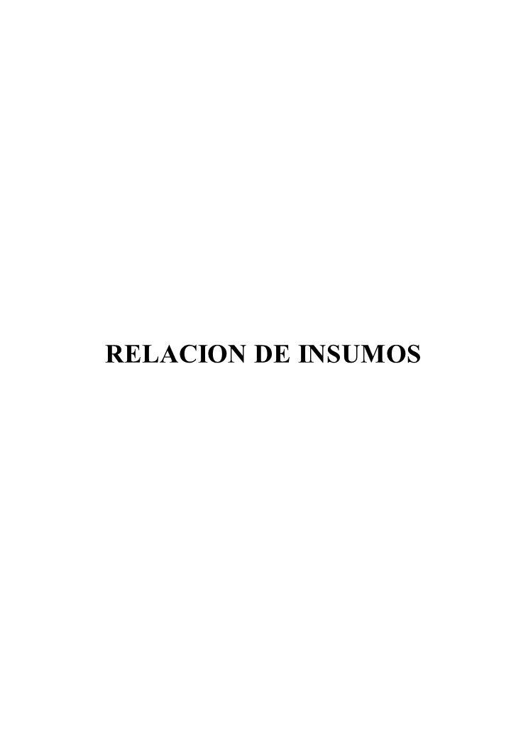 RELACION DE INSUMOS