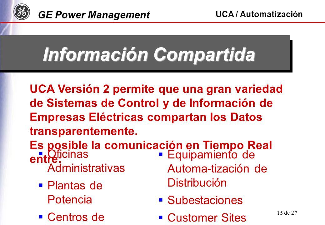 GE Power Management UCA / Automatizaciòn 15 de 27 Información Compartida UCA Versión 2 permite que una gran variedad de Sistemas de Control y de Información de Empresas Eléctricas compartan los Datos transparentemente.