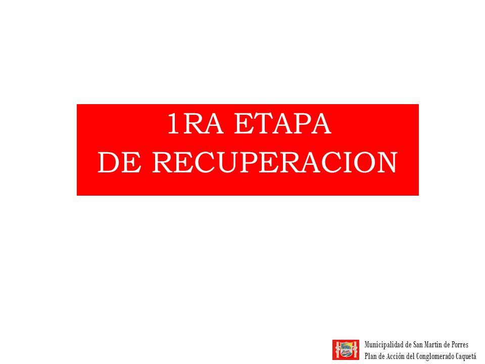 Municipalidad de San Martin de Porres Plan de Acción del Conglomerado Caquetá 1ra ETAPA DE RECUPERACIÓN 1 Asociaciones: 245 socios No Asociados: 55 aprox.