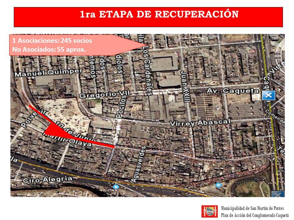 Municipalidad de San Martin de Porres Plan de Acción del Conglomerado Caquetá 1ra ETAPA DE RECUPERACIÓN 1 Asociaciones: 245 socios No Asociados: 55 ap