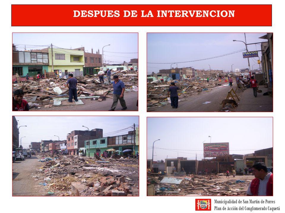 Municipalidad de San Martin de Porres Plan de Acción del Conglomerado Caquetá DESPUES DE LA INTERVENCION