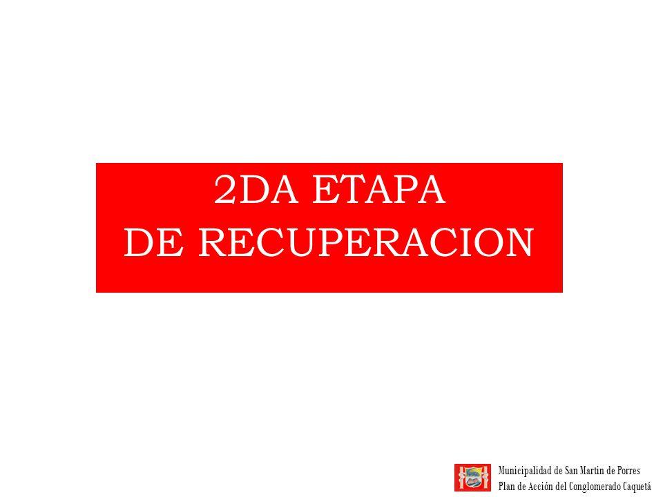 Municipalidad de San Martin de Porres Plan de Acción del Conglomerado Caquetá 2da ETAPA DE RECUPERACIÓN 7 Asociaciones: 754 socios No Asociados: 250 aprox.