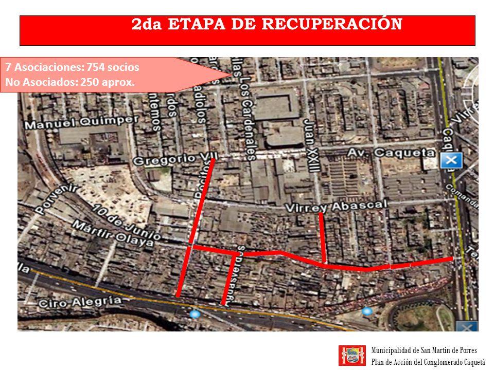 Municipalidad de San Martin de Porres Plan de Acción del Conglomerado Caquetá 2da ETAPA DE RECUPERACIÓN 7 Asociaciones: 754 socios No Asociados: 250 a