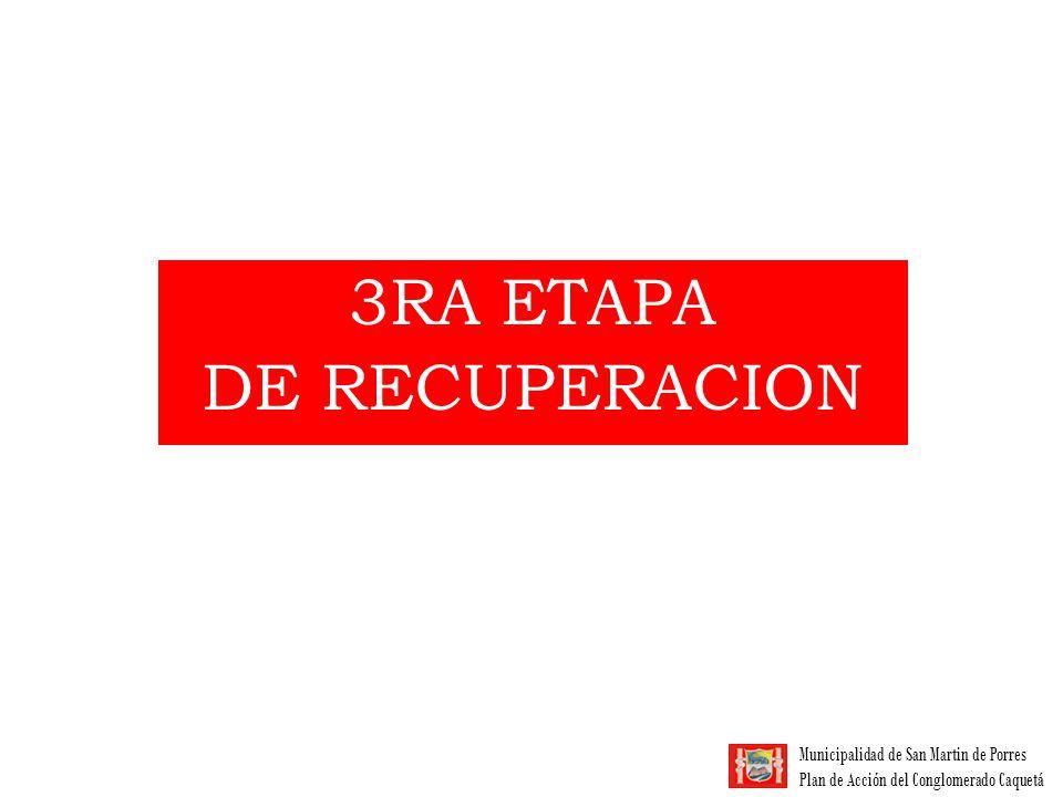 Municipalidad de San Martin de Porres Plan de Acción del Conglomerado Caquetá 3da ETAPA DE RECUPERACIÓN 4 ASOCIACIONES A RETIRAR 763 SOCIOS APROX.