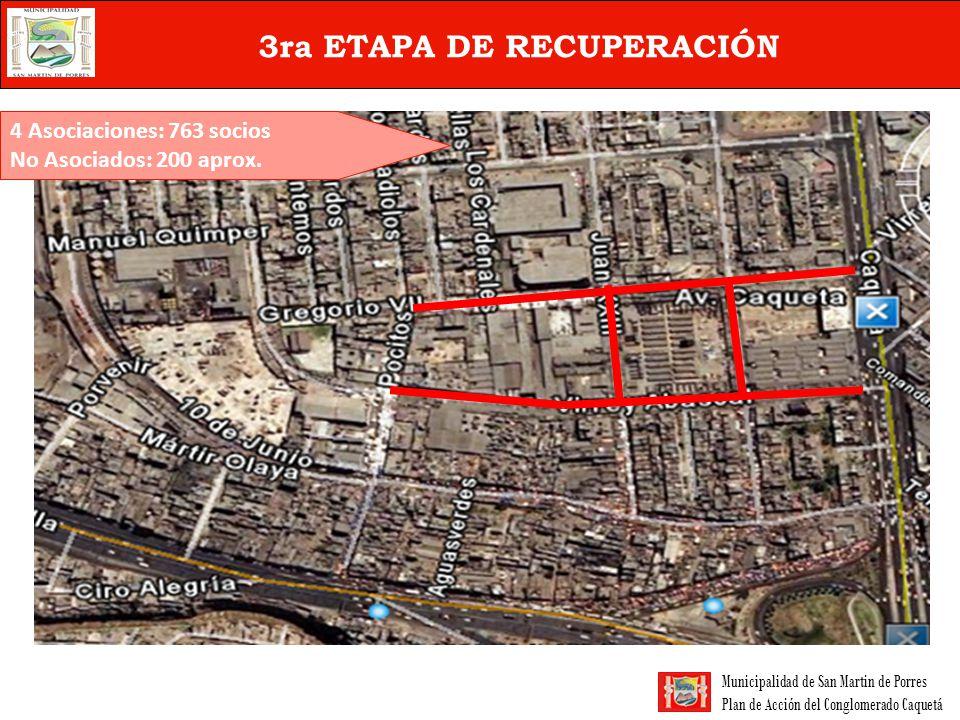 Municipalidad de San Martin de Porres Plan de Acción del Conglomerado Caquetá 3ra ETAPA DE RECUPERACIÓN 4 Asociaciones: 763 socios No Asociados: 200 a