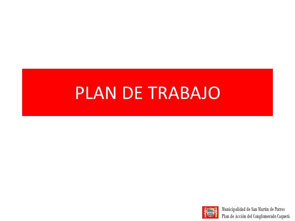Municipalidad de San Martin de Porres Plan de Acción del Conglomerado Caquetá PLAN DE TRABAJO