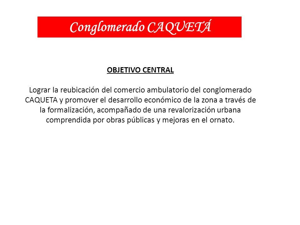 OBJETIVO CENTRAL Lograr la reubicación del comercio ambulatorio del conglomerado CAQUETA y promover el desarrollo económico de la zona a través de la