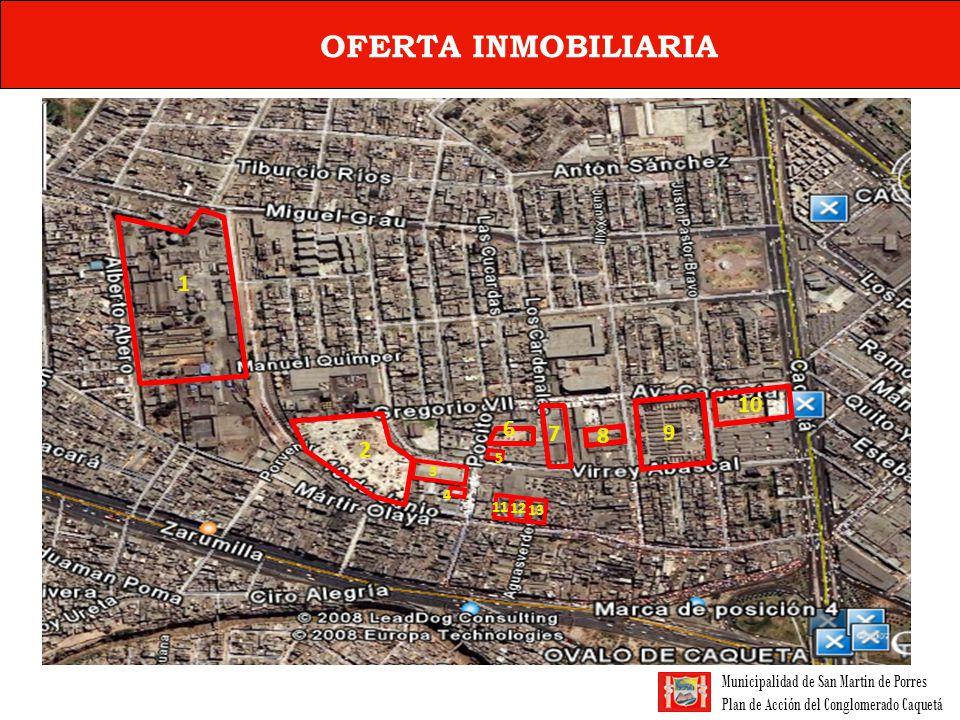 Municipalidad de San Martin de Porres Plan de Acción del Conglomerado Caquetá OFERTA INMOBILIARIA PARA LA ZONA NºRAZON SOCIALUBICACIÓN Nº PUESTOS (a) Nº PUESTOS VENDIDOS (b) Nº PUESTOS DISPONIBLES PARA COMPRA Y/O ALQUILER (c) PUESTOS OCUPADOS ACTUALMENTE (d) OBSERVACIONES 1INVERSIONES BALDOR SAAV.