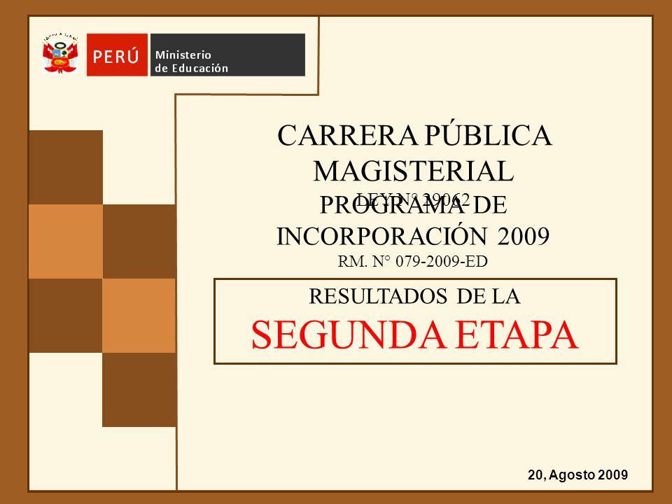 CARRERA PÚBLICA MAGISTERIAL LEY N° 29062 PROGRAMA DE INCORPORACIÓN 2009 RM. N° 079-2009-ED RESULTADOS DE LA SEGUNDA ETAPA 20, Agosto 2009