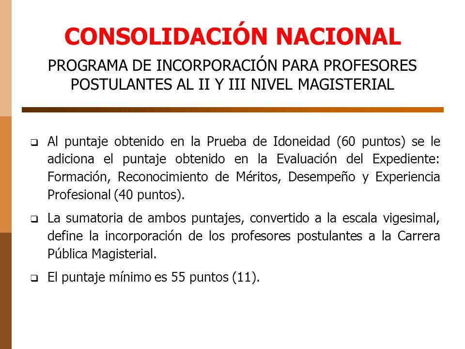 CONSOLIDACIÓN NACIONAL PROGRAMA DE INCORPORACIÓN PARA PROFESORES POSTULANTES AL II Y III NIVEL MAGISTERIAL Al puntaje obtenido en la Prueba de Idoneidad (60 puntos) se le adiciona el puntaje obtenido en la Evaluación del Expediente: Formación, Reconocimiento de Méritos, Desempeño y Experiencia Profesional (40 puntos).
