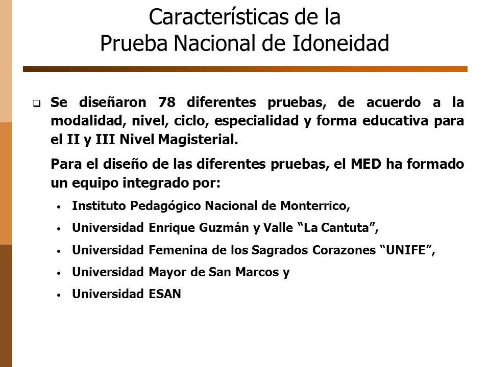 Características de la Prueba Nacional de Idoneidad IPNM-Pruebas de Educación Básica Regular La Cantuta -Pruebas de Educación Básica Alternativa y Educación Técnico Productiva UNIFE-Pruebas de Educación Básica Especial.