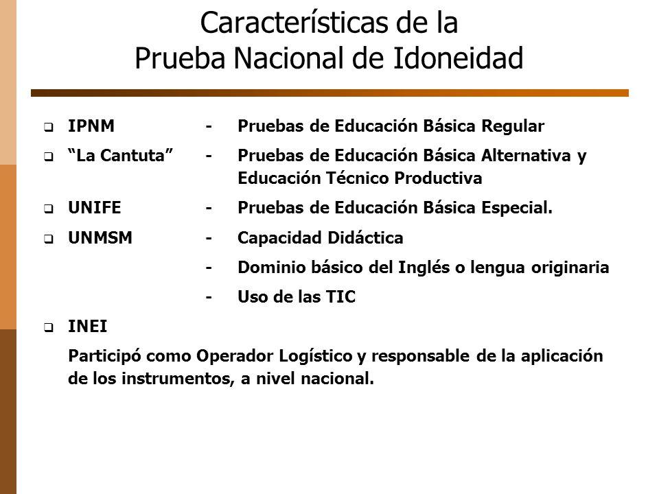 Características de la Prueba Nacional de Idoneidad IPNM-Pruebas de Educación Básica Regular La Cantuta -Pruebas de Educación Básica Alternativa y Educ