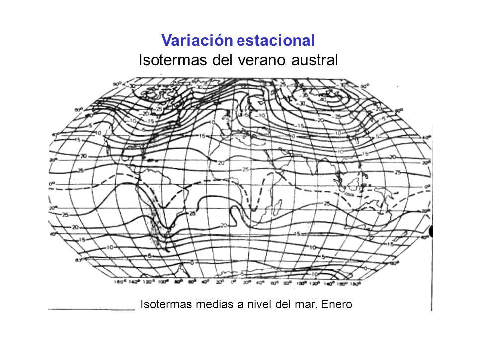 Variación estacional Isotermas del verano austral Isotermas medias a nivel del mar. Enero