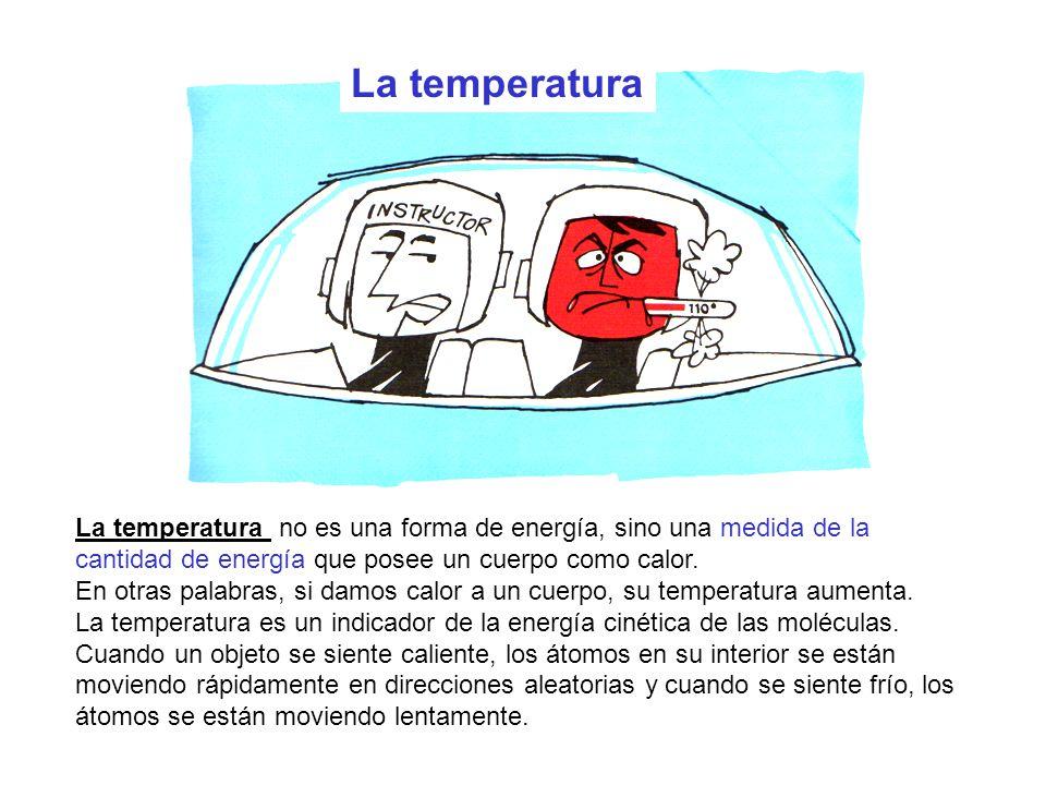 La temperatura no es una forma de energía, sino una medida de la cantidad de energía que posee un cuerpo como calor. En otras palabras, si damos calor