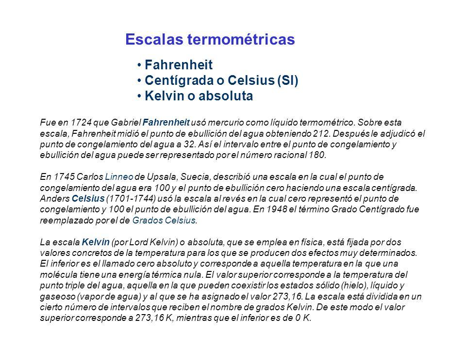 Fahrenheit Centígrada o Celsius (SI) Kelvin o absoluta Fue en 1724 que Gabriel Fahrenheit usó mercurio como líquido termométrico. Sobre esta escala, F
