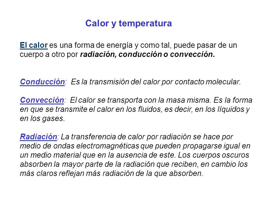 El calor es una forma de energía y como tal, puede pasar de un cuerpo a otro por radiación, conducción o convección. Conducción: Es la transmisión del