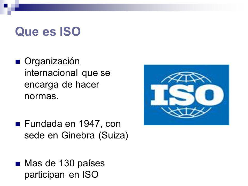 Normas IS0 9000 Normas de calidad establecidas por ISO (Organización Internacional para la Estandarización) que se pueden aplicar en cualquier tipo de organización.