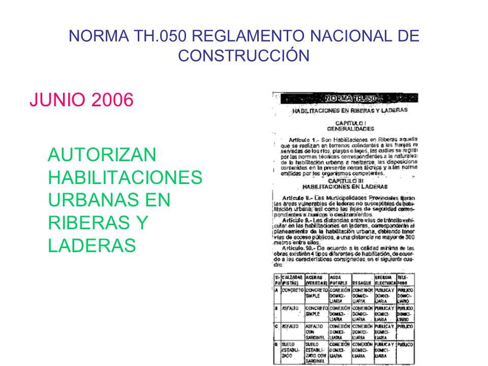NORMA TH.050 REGLAMENTO NACIONAL DE CONSTRUCCIÓN JUNIO 2006 AUTORIZAN HABILITACIONES URBANAS EN RIBERAS Y LADERAS