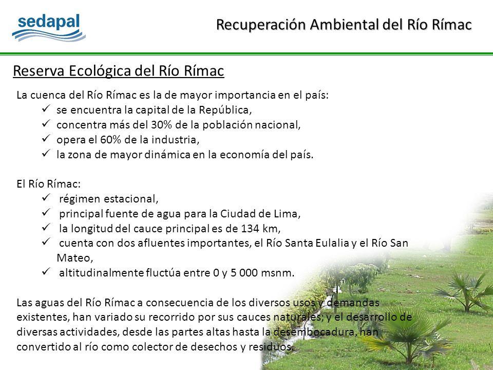 La cuenca del Río Rímac es la de mayor importancia en el país: se encuentra la capital de la República, concentra más del 30% de la población nacional, opera el 60% de la industria, la zona de mayor dinámica en la economía del país.