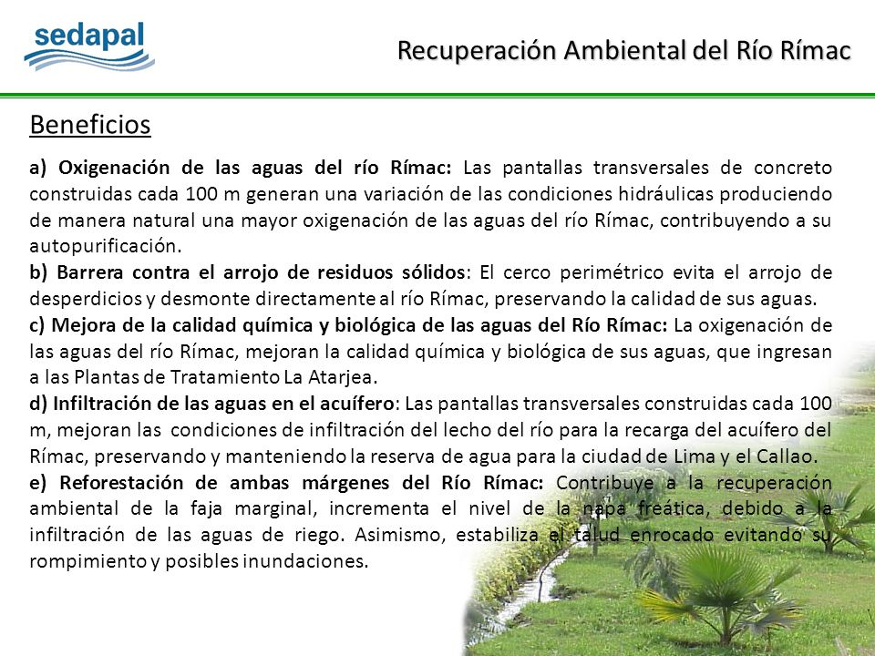 Beneficios a) Oxigenación de las aguas del río Rímac: Las pantallas transversales de concreto construidas cada 100 m generan una variación de las condiciones hidráulicas produciendo de manera natural una mayor oxigenación de las aguas del río Rímac, contribuyendo a su autopurificación.