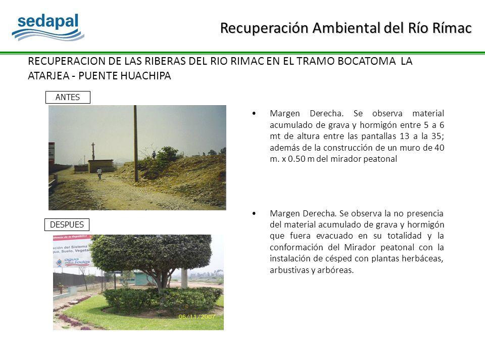 RECUPERACION DE LAS RIBERAS DEL RIO RIMAC EN EL TRAMO BOCATOMA LA ATARJEA - PUENTE HUACHIPA Margen Derecha.