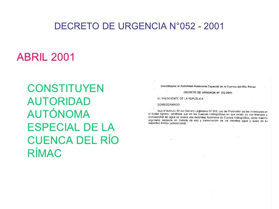 DECRETO DE URGENCIA N°052 - 2001 ABRIL 2001 CONSTITUYEN AUTORIDAD AUTÓNOMA ESPECIAL DE LA CUENCA DEL RÍO RÍMAC