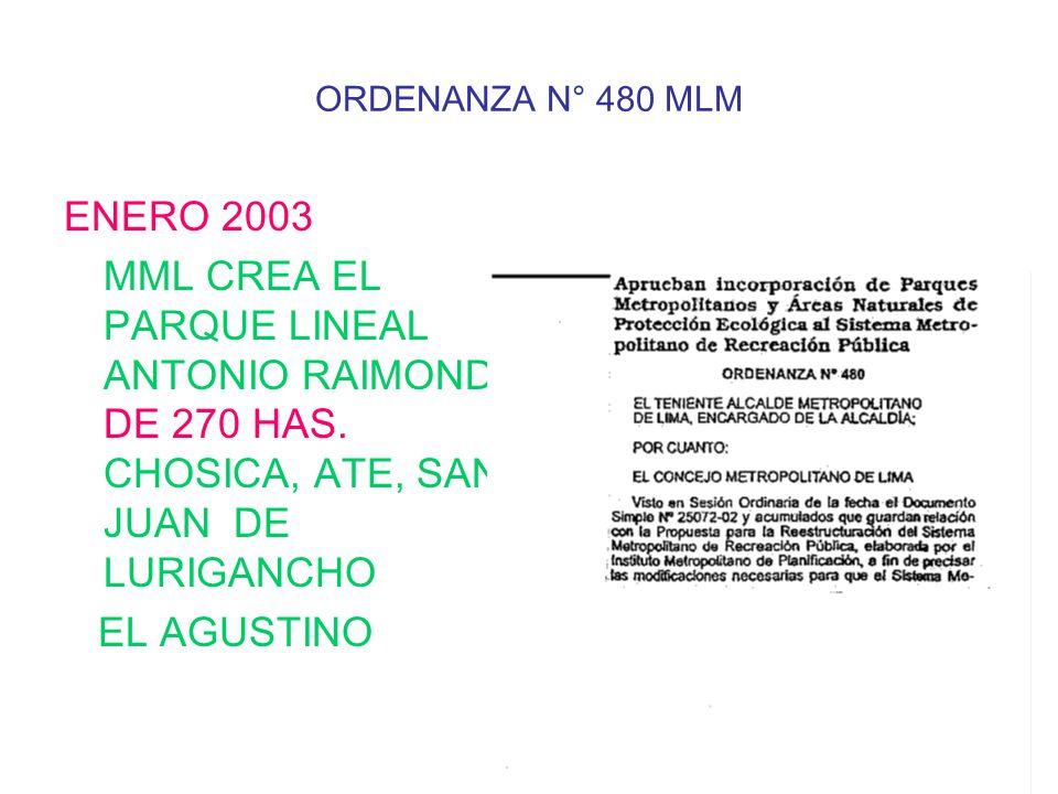 ORDENANZA N° 480 MLM ENERO 2003 MML CREA EL PARQUE LINEAL ANTONIO RAIMONDI DE 270 HAS.