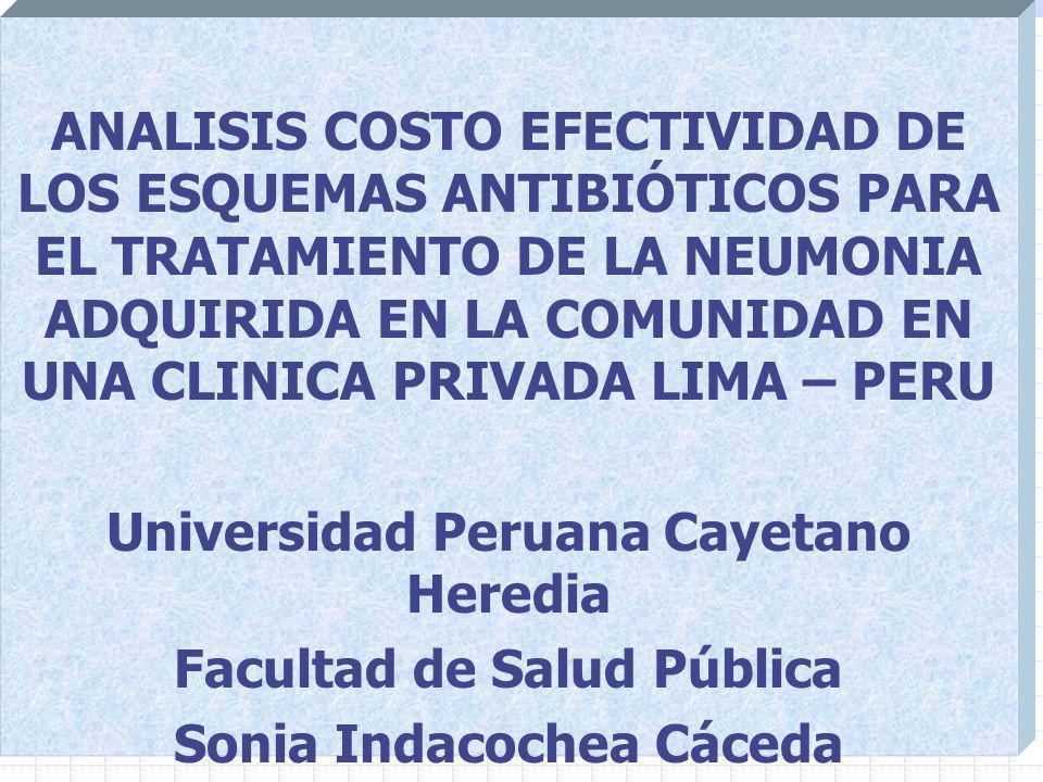 ANALISIS COSTO EFECTIVIDAD DE LOS ESQUEMAS ANTIBIÓTICOS PARA EL TRATAMIENTO DE LA NEUMONIA ADQUIRIDA EN LA COMUNIDAD EN UNA CLINICA PRIVADA LIMA – PERU Universidad Peruana Cayetano Heredia Facultad de Salud Pública Sonia Indacochea Cáceda