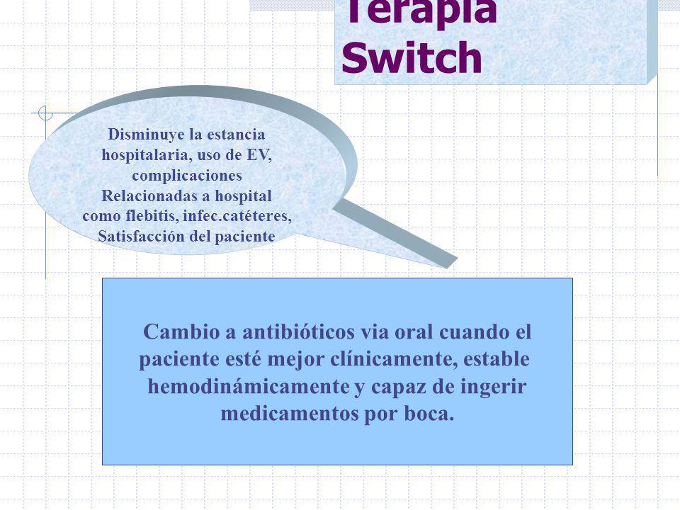 Terapia Switch Cambio a antibióticos via oral cuando el paciente esté mejor clínicamente, estable hemodinámicamente y capaz de ingerir medicamentos por boca.