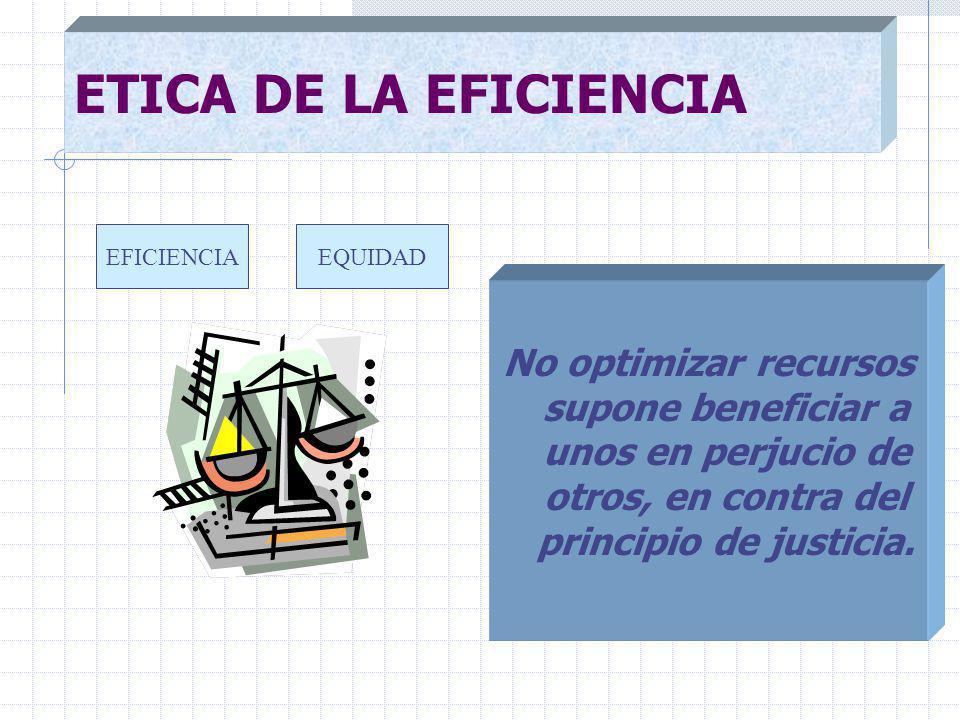No optimizar recursos supone beneficiar a unos en perjucio de otros, en contra del principio de justicia.