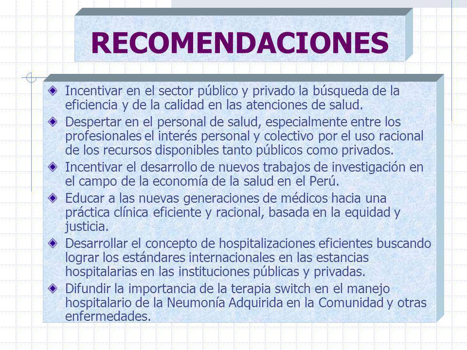 RECOMENDACIONES Incentivar en el sector público y privado la búsqueda de la eficiencia y de la calidad en las atenciones de salud.