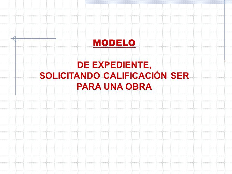 MODELO DE EXPEDIENTE, SOLICITANDO CALIFICACIÓN SER PARA UNA OBRA
