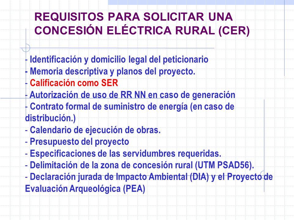 REQUISITOS PARA SOLICITAR UNA CONCESIÓN ELÉCTRICA RURAL (CER) - Identificación y domicilio legal del peticionario - Memoria descriptiva y planos del p