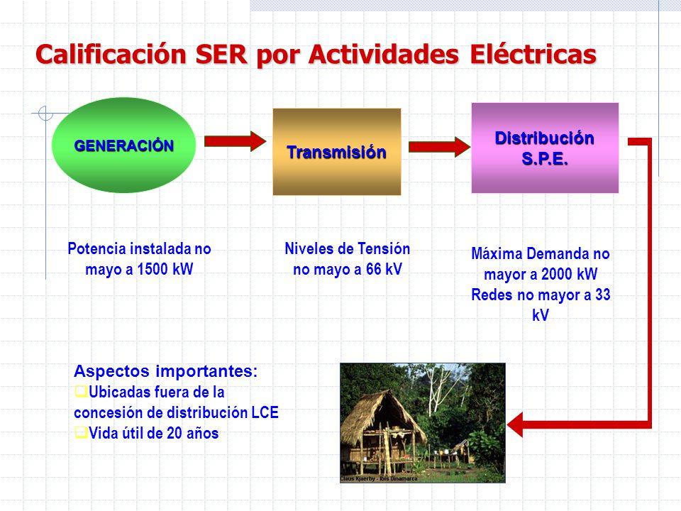 REQUISITOS PARA LA CALIFICACIÓN SER Para Obras Ejecutadas (numeral 7.2.1): Ubicación (fuera del área de concesión de distribución LCE) Cumplimiento de las normas técnicas de electrificación rural Dimensionada para 20 años de vida útil Potencia instalada no mayor a 1500 kW, en caso de generación Nivel de tensión no mayor a 66 kV, en caso de líneas de transmisión Máxima demanda no mayor a 2000 kW, en caso de distribución S.P.E.