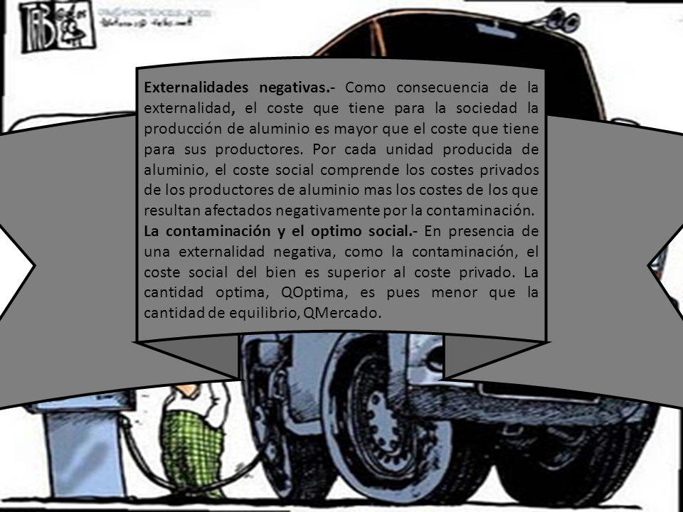 Externalidades negativas.- Como consecuencia de la externalidad, el coste que tiene para la sociedad la producción de aluminio es mayor que el coste q