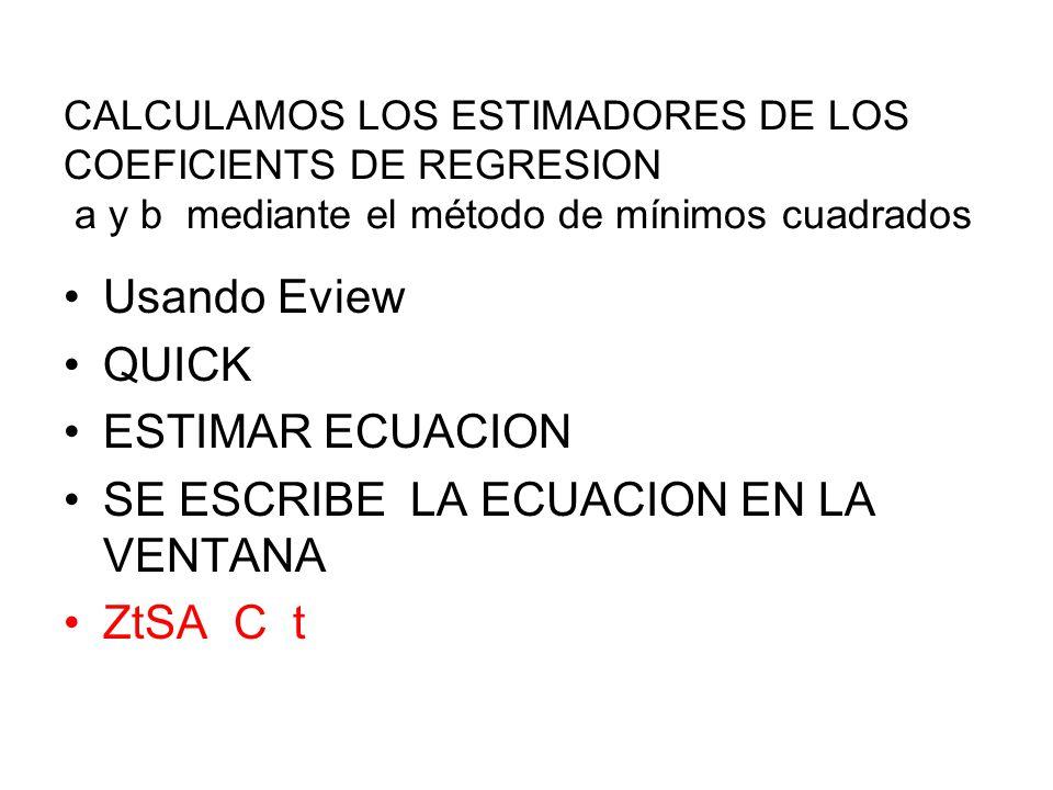 CALCULAMOS LOS ESTIMADORES DE LOS COEFICIENTS DE REGRESION a y b mediante el método de mínimos cuadrados Usando Eview QUICK ESTIMAR ECUACION SE ESCRIB