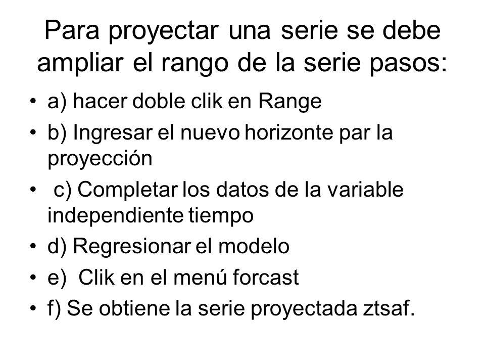 Para proyectar una serie se debe ampliar el rango de la serie pasos: a) hacer doble clik en Range b) Ingresar el nuevo horizonte par la proyección c)