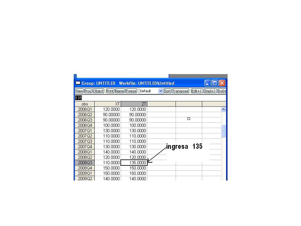 Para proyectar una serie se debe ampliar el rango de la serie pasos: a) hacer doble clik en Range b) Ingresar el nuevo horizonte par la proyección c) Completar los datos de la variable independiente tiempo d) Regresionar el modelo e) Clik en el menú forcast f) Se obtiene la serie proyectada ztsaf.