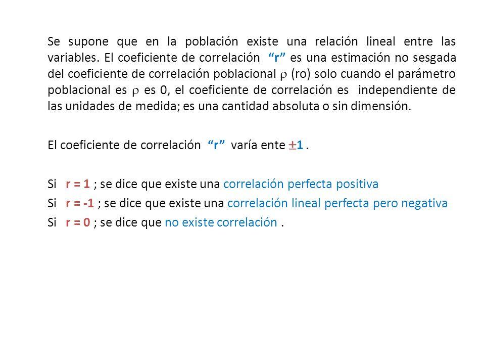 Se supone que en la población existe una relación lineal entre las variables. El coeficiente de correlación r es una estimación no sesgada del coefici