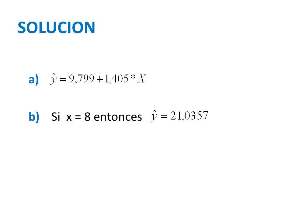 SOLUCION a) b) Si x = 8 entonces
