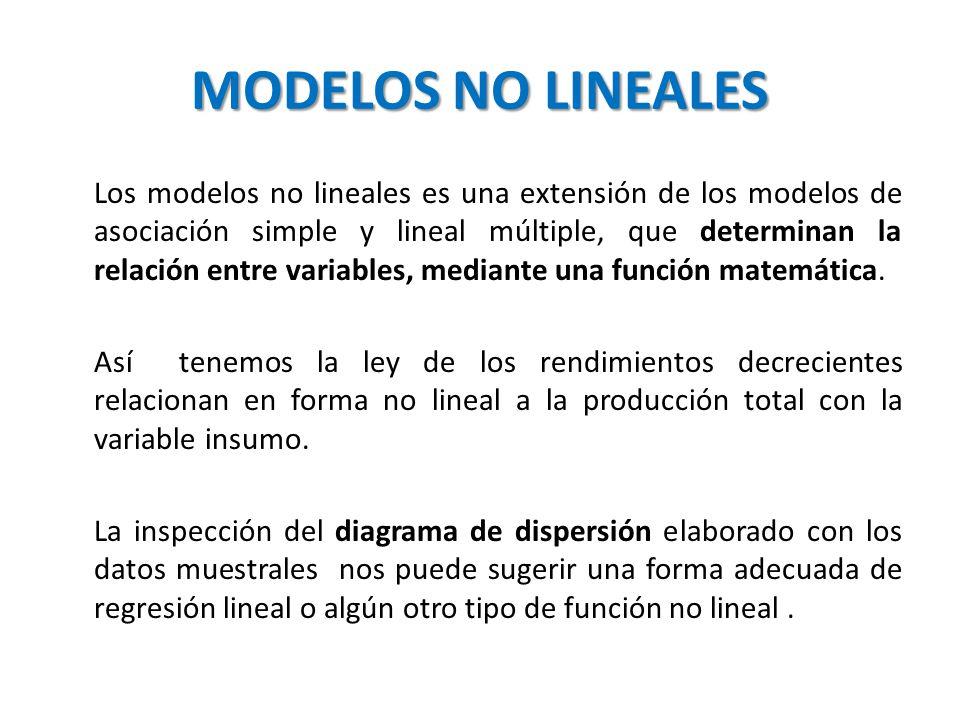 MODELOS NO LINEALES Los modelos no lineales es una extensión de los modelos de asociación simple y lineal múltiple, que determinan la relación entre v