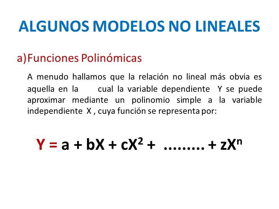 ALGUNOS MODELOS NO LINEALES a)Funciones Polinómicas A menudo hallamos que la relación no lineal más obvia es aquella en la cual la variable dependient